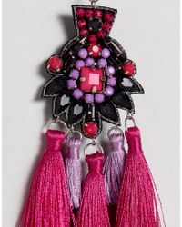 ASOS - Pink Statement Embroidered Stone Tassel Earrings - Lyst