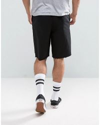 ASOS - Skater Shorts With Raw Edge In Black for Men - Lyst