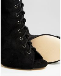 Truffle Collection Lace Up Ghillie Over The Knee Boots - Black Mf