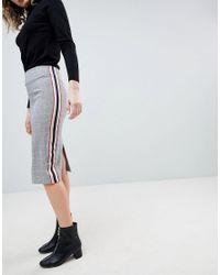 ASOS - Gray Asos Tailored Side Stripe Pencil Skirt - Lyst