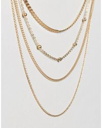 ASOS | Metallic Mixed Chain Multirow Necklace | Lyst