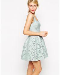 ASOS - Green Applique Mesh Lantern Skirt Dress - Lyst