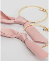 Accessorize - Pink Bow Hoop Earrings () - Lyst