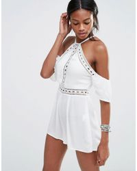 2b8f5305967f Missguided Cheesecloth Cold Shoulder Playsuit in White - Lyst