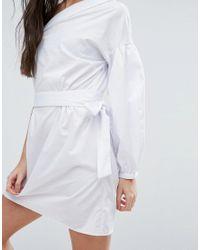 ASOS - White Extreme One Shoulder Cotton Mini Dress - Lyst