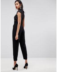 ASOS - Black Embellished Lace Top Jumpsuit - Lyst