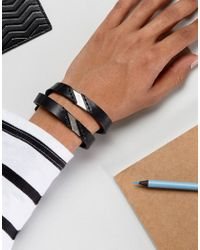 DIESEL - A-linup Double Leather Bracelet In Black - Lyst