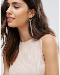Pieces - Metallic Chain Drop Earrings - Lyst