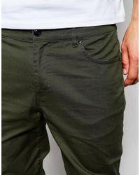 ASOS - Green Skinny Pants In Dark Khaki for Men - Lyst