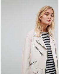 AllSaints - White All Saints Oversized Zip Biker Jacket In Leather - Lyst