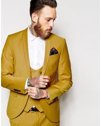 Noose And Monkey - Yellow Suit Jacket With Stretch And Shawl Lapel In Skinny Fit for Men - Lyst