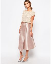 Coast - Natural Capped Sleeve Sequin Top - Lyst