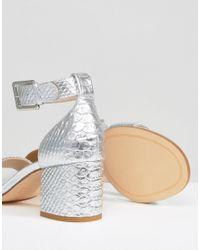 Dune - Jaygo Two Part Block Heel Metallic Sandal - Lyst