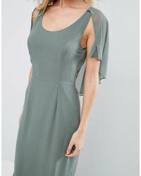 ASOS - Green Cape 30's Seamed Fish Tail Maxi Dress - Lyst