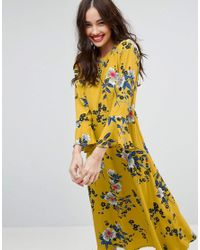 ASOS - Yellow Printed Midi Column Dress With Fluted Sleeve In Floral Print - Lyst
