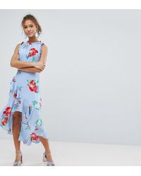 7266d2152c93 Miss Selfridge Floral Print Ruffle Shoulder Midi Dress in Blue - Lyst