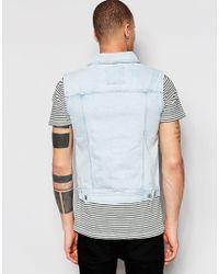 Pull&Bear Blue Sleeveless Denim Jacket In Bleach Wash for men