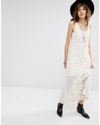 663415b718 Lyst - Mango Premium Lace Maxi Dress With Low Back in Natural
