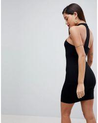 ASOS DESIGN - Black Asos Choker Neck Mini Bodycon Dress With Splits - Lyst