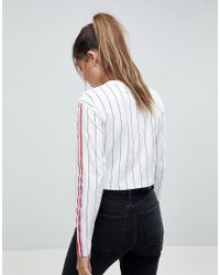 ASOS - White Top In Vertical Stripe With Bright Taping - Lyst