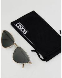 ASOS - Metallic Asos Metal Cat Eye Sunglasses - Lyst