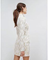 PRETTYLITTLETHING - White Lace Insert Mini Dress - Lyst