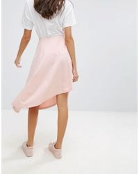 ASOS - Pink Mini Skirt With Asymmetic Hem - Lyst