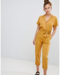 a114c533e50 Lyst - Pull Bear Button Through Jumpsuit In Mustard in Yellow