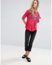 Pull&Bear - Pink Frill Front 'smooth Love' Tee - Lyst