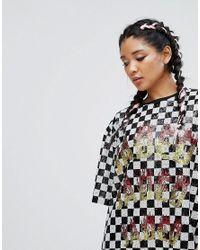 Jaded London - Black Festival Sequin T-shirt Dress In Checkerboard - Lyst