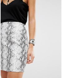 Missguided - Gray Faux Snake Skin Mini Skirt - Lyst