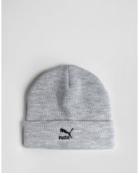 PUMA - Gray Archive Logo Beanie In Grey 02174002 for Men - Lyst