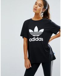 487a1f01 adidas Originals Women's White Originals Adicolour Oversized T-shirt With  Trefoil Logo