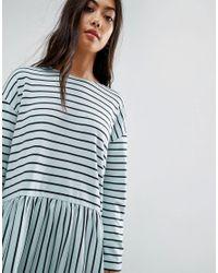 ASOS - Blue Smock Dress In Ponte Stripe - Lyst