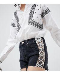 River Island Black Annie Crochet Detail Denim Shorts