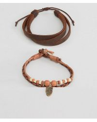ASOS - Brown Leather Bracelet Pack In Tan With Feather Charm for Men - Lyst