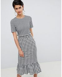 ASOS - Multicolor Midi Dress With Pep Hem In Contrast Check - Lyst