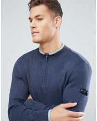 Ben Sherman - Blue Zipped High Neck Jumper for Men - Lyst