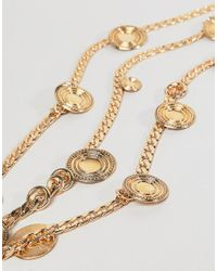 ASOS - Metallic Statement Coin And Chunky Chain Multirow Necklace - Lyst