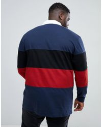 ASOS - Blue Plus Longline Long Sleeve Rugby Polo Shirt With Colour Block In Heavyweight Jersey for Men - Lyst