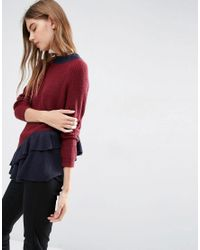 ASOS | Multicolor Jumper With Contrast Ruffle Detail | Lyst