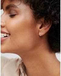 ASOS - Metallic Design Sterling Silver Huggie Hinged Hoop Earrings - Lyst