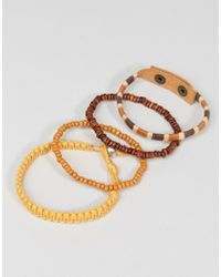 ASOS - Leather And Beaded Bracelet Pack In Orange for Men - Lyst