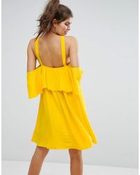 ASOS - Yellow Soft Halter Mini Dress With Eyelet - Lyst