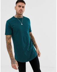 River Island Blue T-shirt With Double Hem In Teal for men