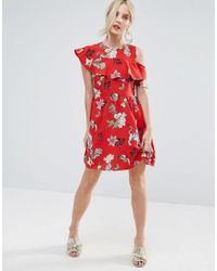 ASOS - Red Ruffle Tea Mini Dress With Open Back In Badge Print - Lyst