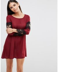 AX Paris | Purple Swing Dress With Lace Sleeve Detail | Lyst