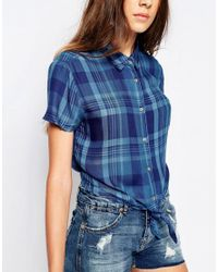 Pull&Bear - Blue Short Sleeves Checked Shirt With Front Knot - Lyst