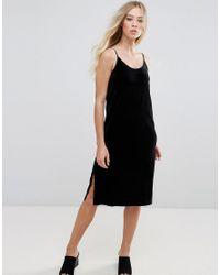 21ae2cb0fab Lyst - B.Young Velvet Slip Dress in Black