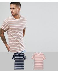 ASOS - Multicolor Muscle Striped T-shirt 2 Pack Save for Men - Lyst